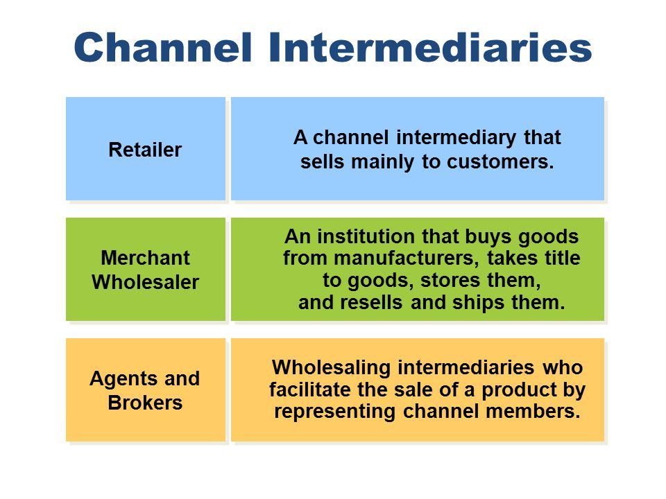 Intermediaries in distribution channel