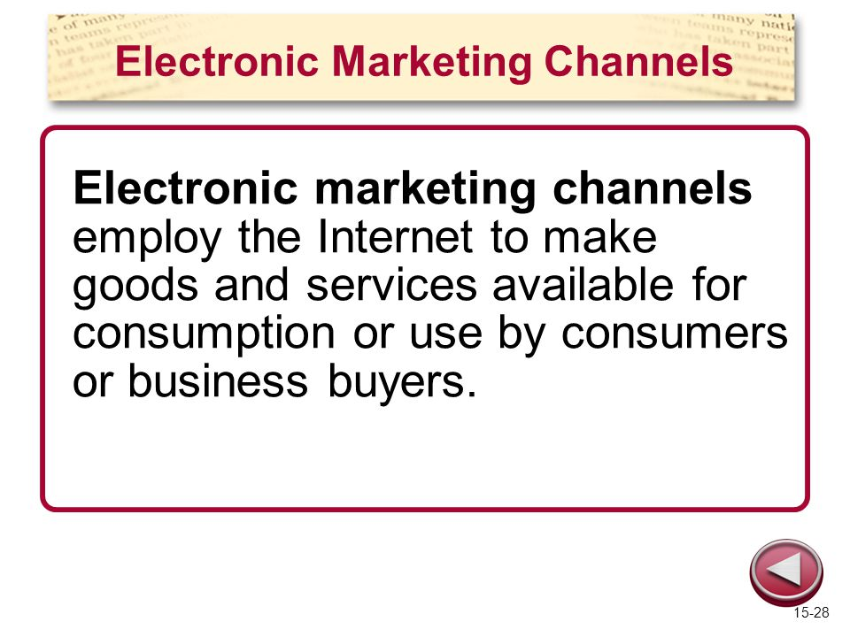 Electronic Marketing Channels