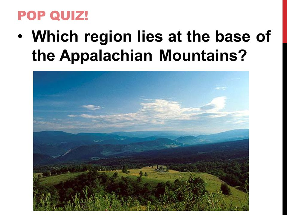 Which region lies at the base of the Appalachian Mountains
