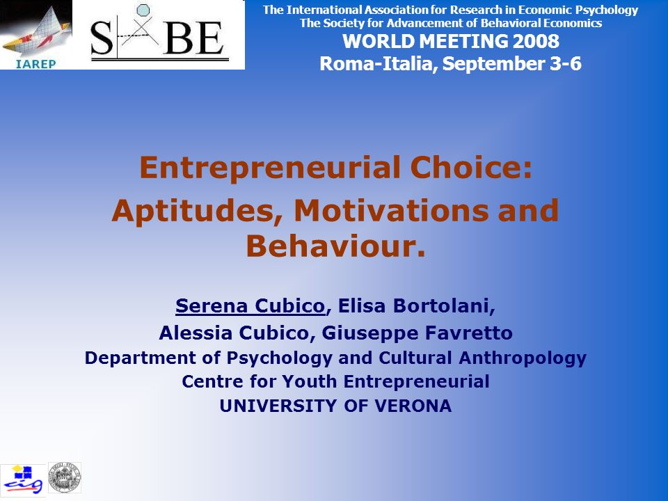 Entrepreneurial Choice: Aptitudes, Motivations and Behaviour.
