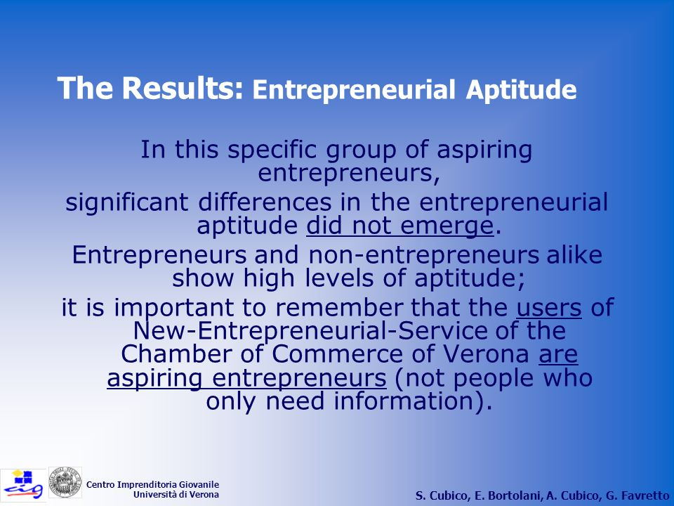 The Results: Entrepreneurial Aptitude
