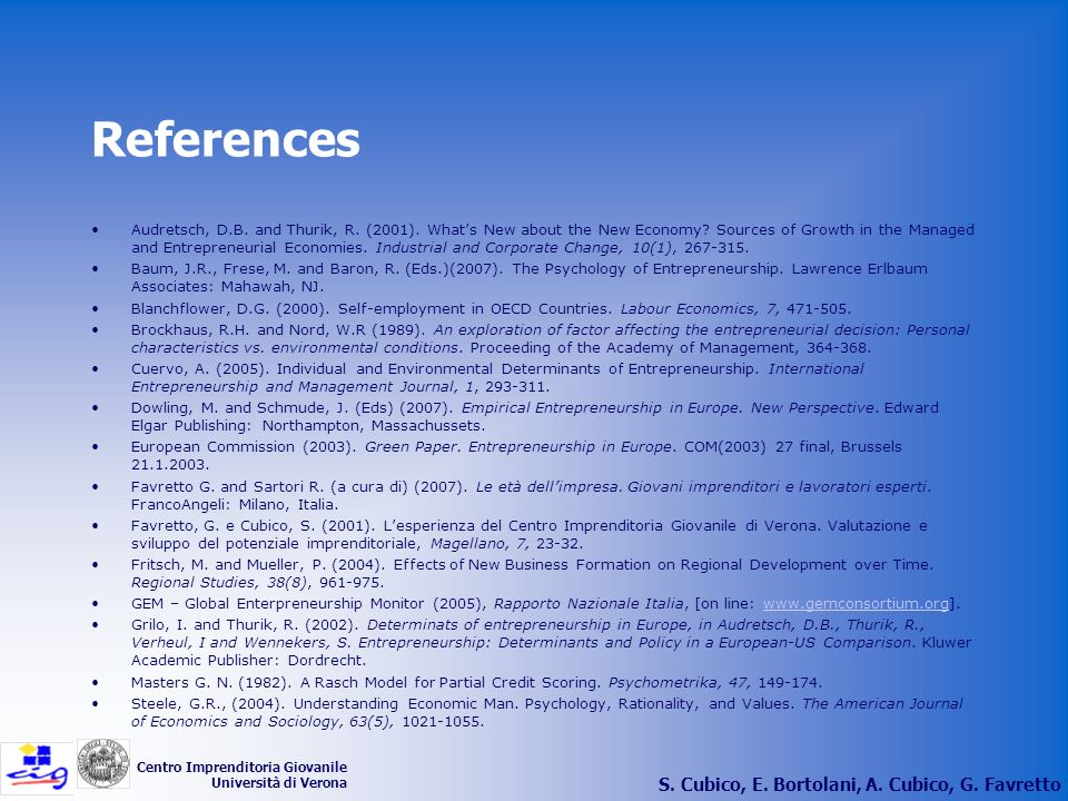 References S. Cubico, E. Bortolani, A. Cubico, G. Favretto