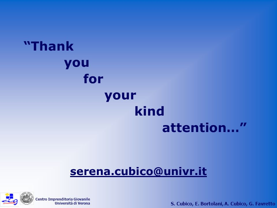 Thank you for your kind attention… serena.cubico@univr.it