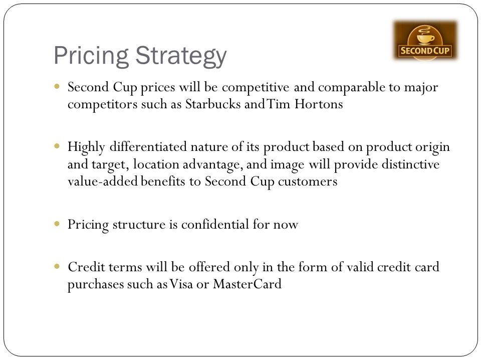 how starbucks uses pricing strategy for (any pricing that works with starbucks  starbucks: pricing strategies  it also explores how to apply this pricing strategy and the relationship with the.