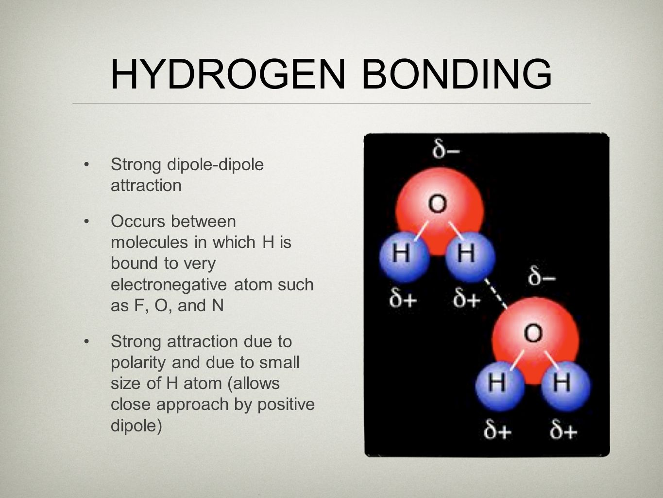 HYDROGEN BONDING Strong dipole-dipole attraction