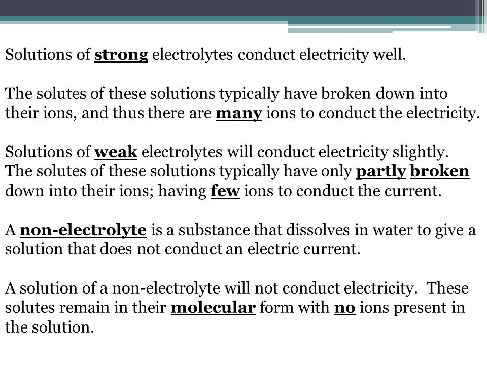 Electrical conductivity of electrolyte's solutions - PowerPoint PPT Presentation
