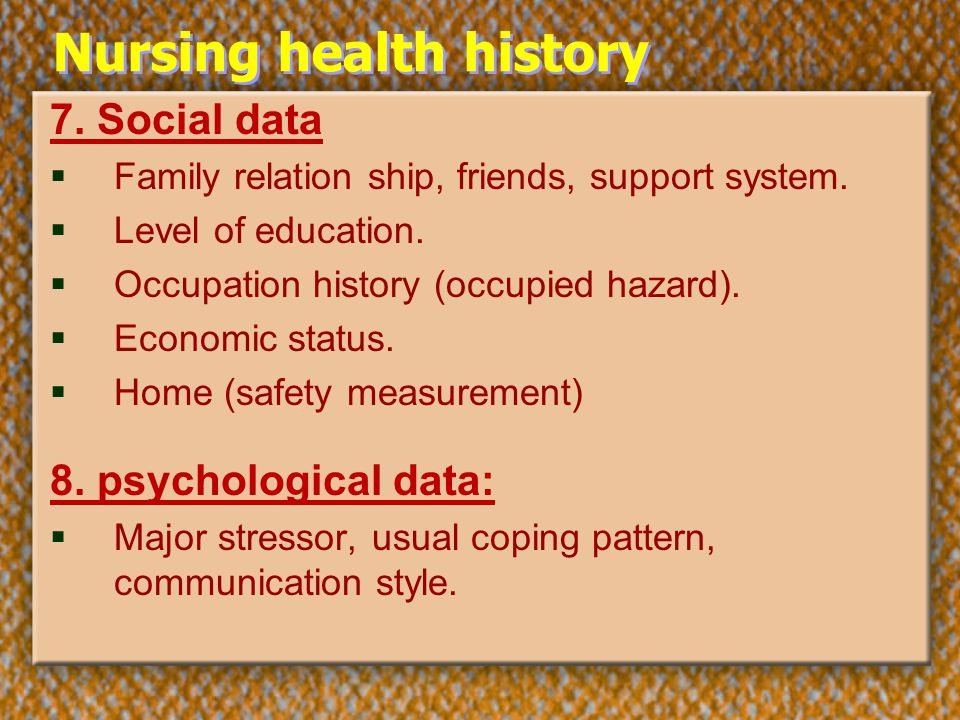 nursing health history Definition of family health history as critical care nurse readers know, a family health history (also referred to as a family medical history, a family history, or.