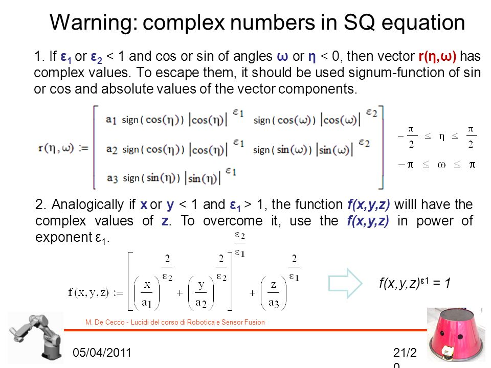 Warning: complex numbers in SQ equation