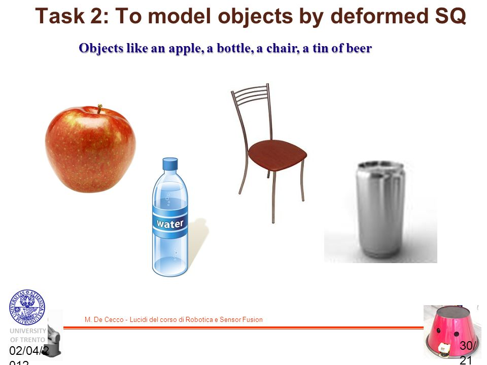 Task 2: To model objects by deformed SQ