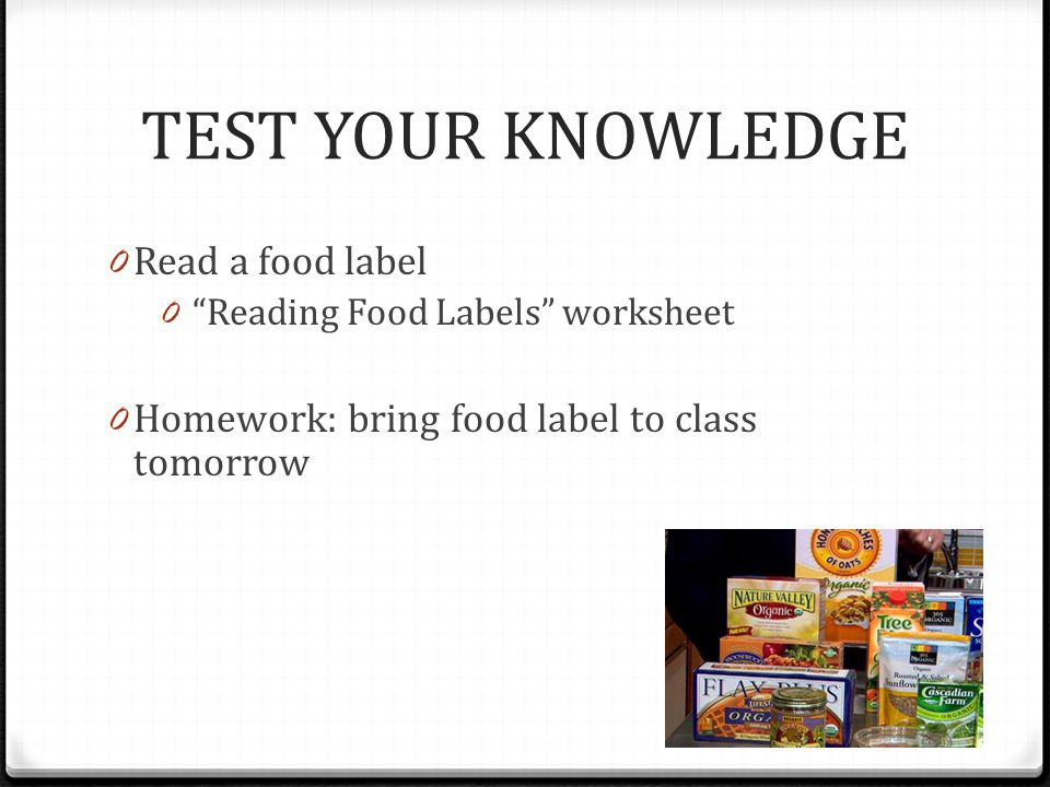 READING FOOD LABELS ppt download – Food Label Worksheet