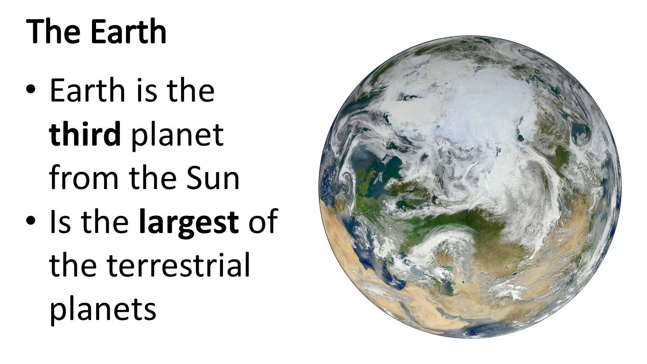 The Earth Earth is the third planet from the Sun Is the largest of the terrestrial planets