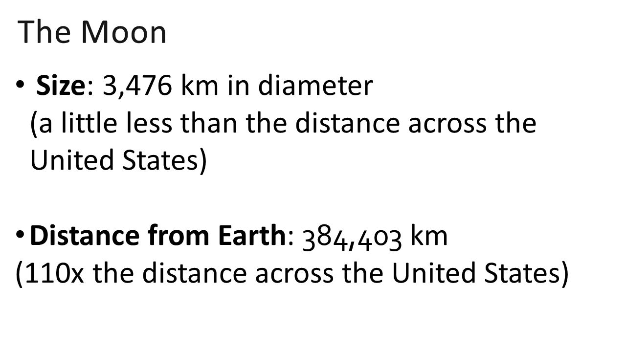 The Moon Size: 3,476 km in diameter (a little less than the distance across the United States)