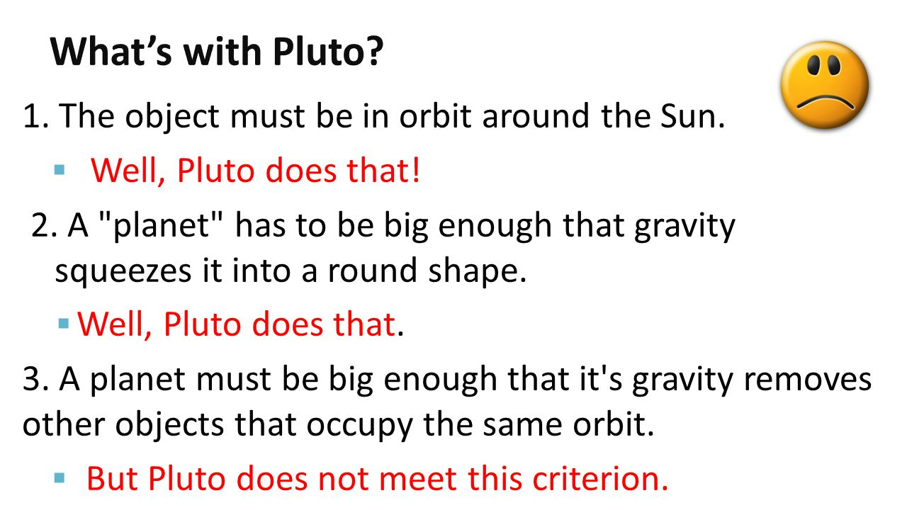 What's with Pluto 1. The object must be in orbit around the Sun.