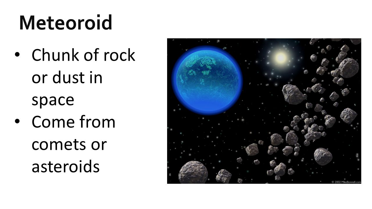 Meteoroid Chunk of rock or dust in space Come from comets or asteroids