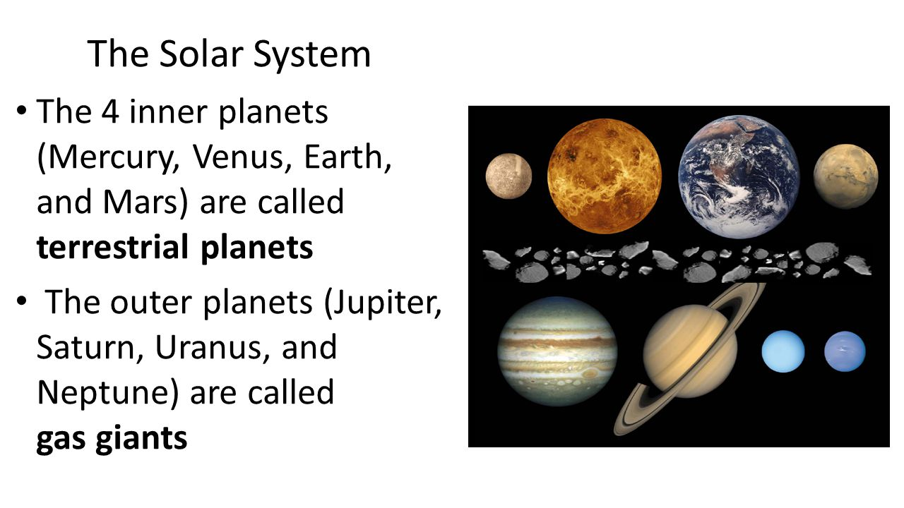 The Solar System The 4 inner planets (Mercury, Venus, Earth, and Mars) are called terrestrial planets.