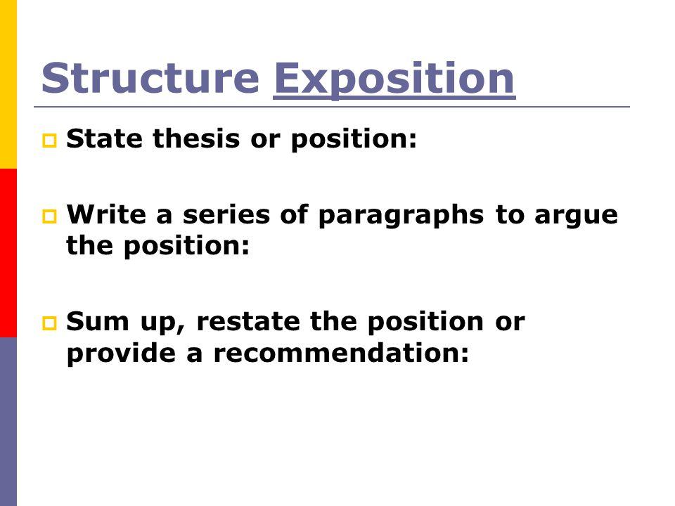 Structure Exposition State thesis or position: