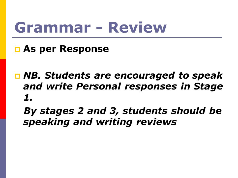 Grammar - Review As per Response