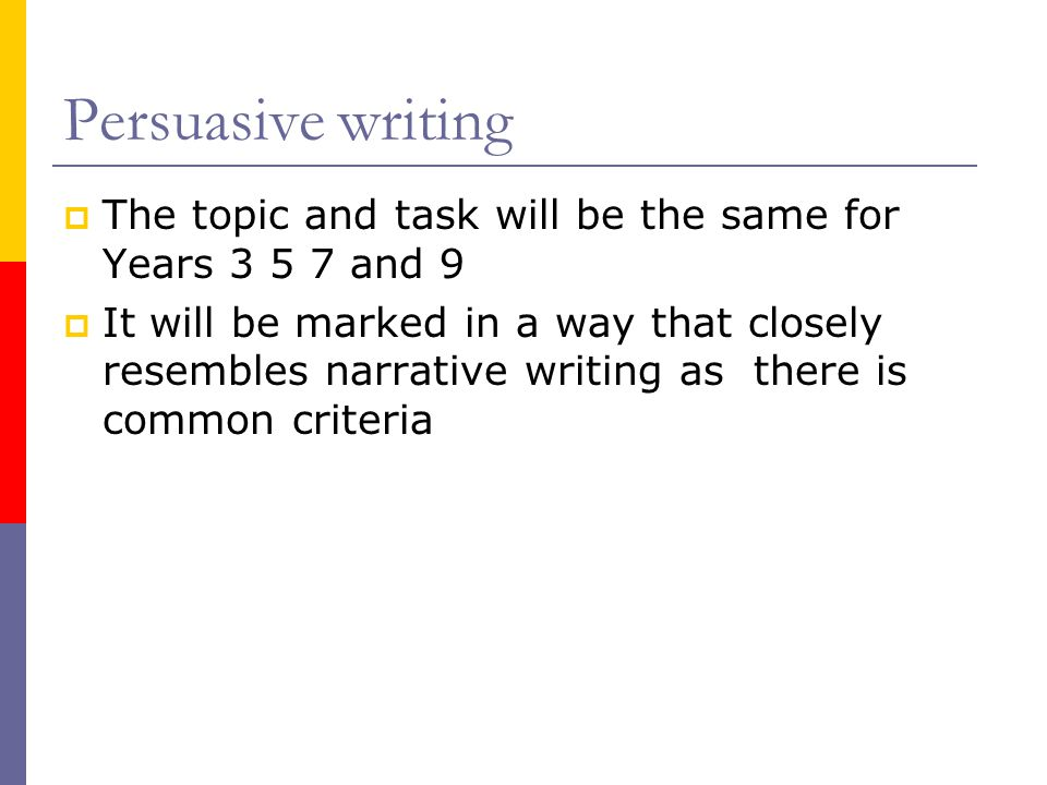 Persuasive writing The topic and task will be the same for Years and 9.