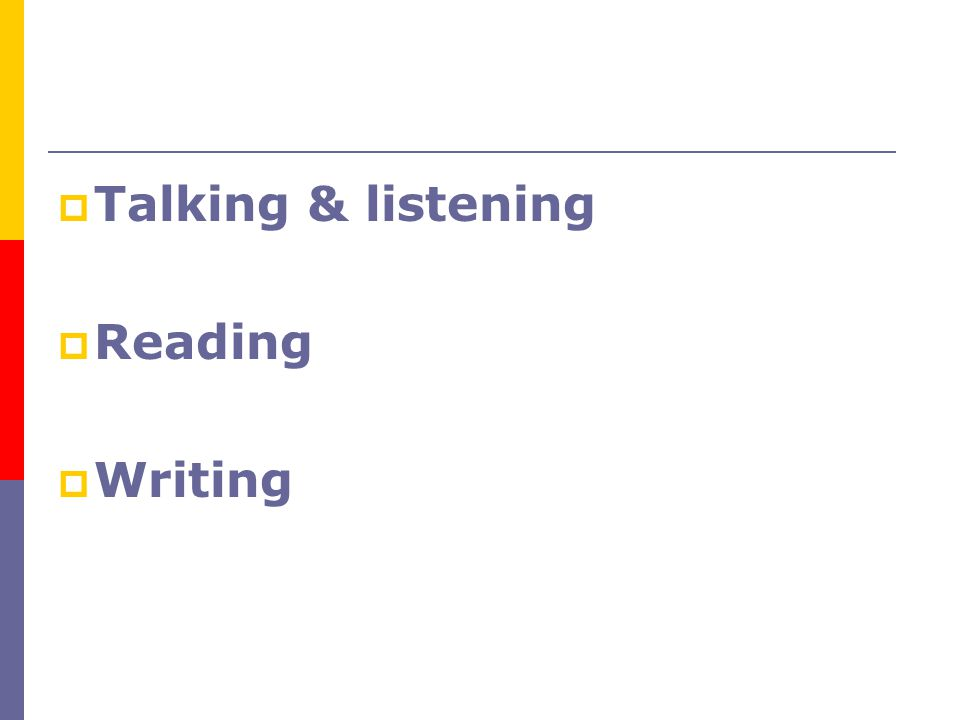 Talking & listening Reading Writing