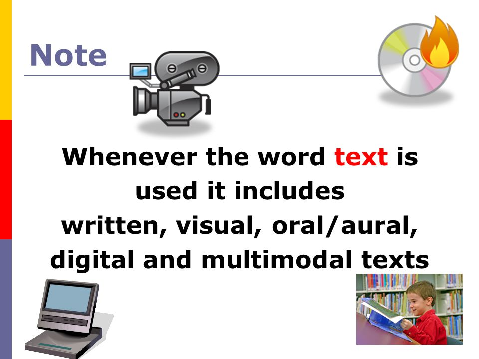 Note Whenever the word text is used it includes