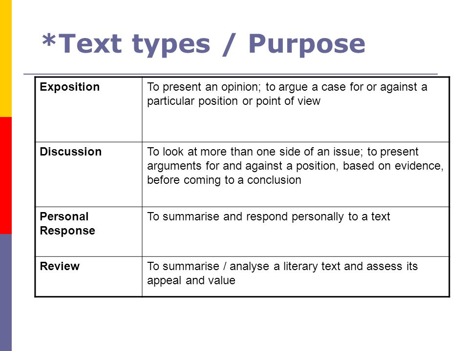 *Text types / Purpose Exposition