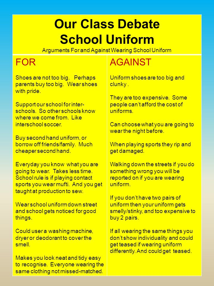 essay school uniforms debate School uniforms also prevent students from concealing weapons under baggy clothing,  debate topics critical thinking quotes teaching controversial issues.