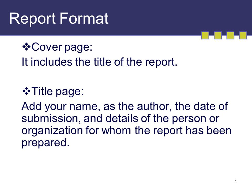 the report format
