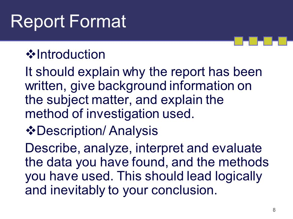 what is the format for writing a report Report writing writing the report presenting the report technical writing writing lab reports honours thesis writing case study report in (engineering) news and.