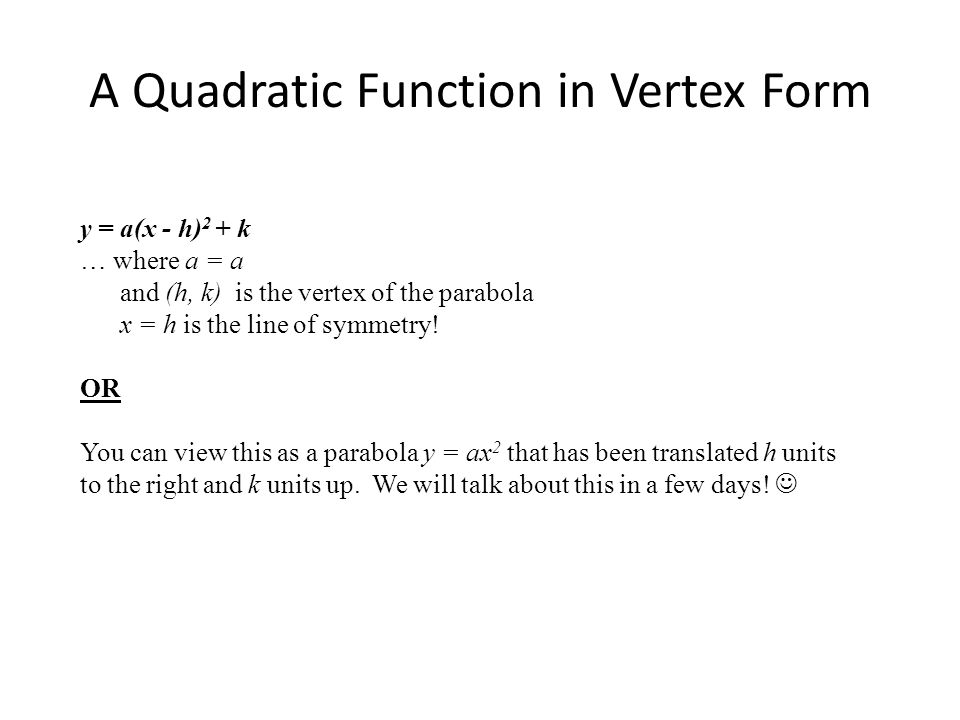 A Quadratic Function in Vertex Form