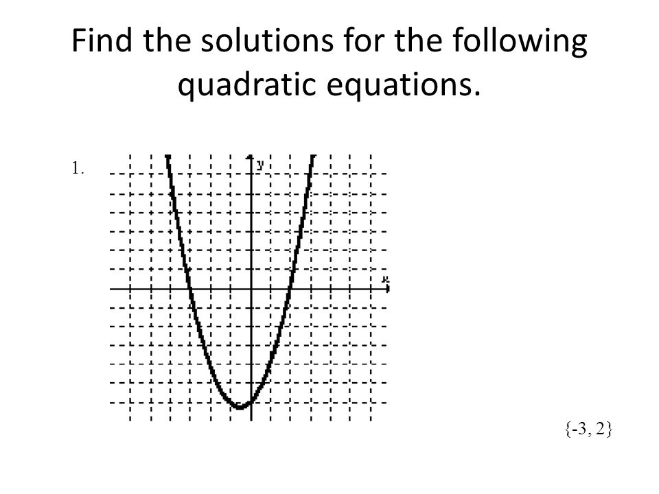 Find the solutions for the following quadratic equations.
