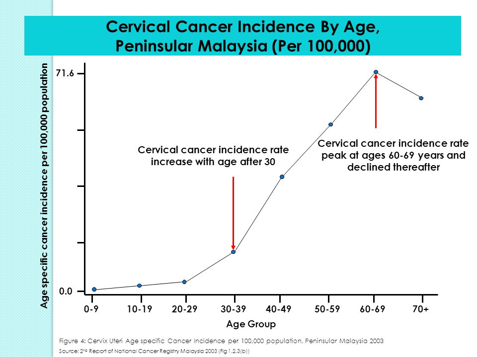 Cervical Cancer Incidence By Age, Peninsular Malaysia (Per 100,000)