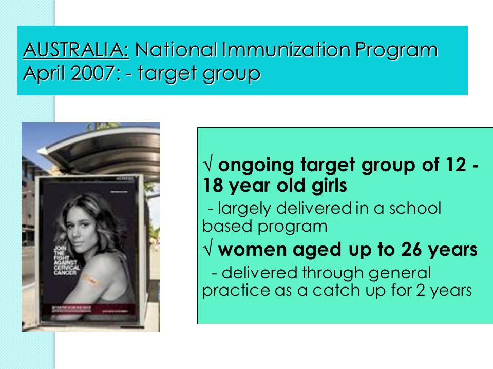 AUSTRALIA: National Immunization Program April 2007: - target group