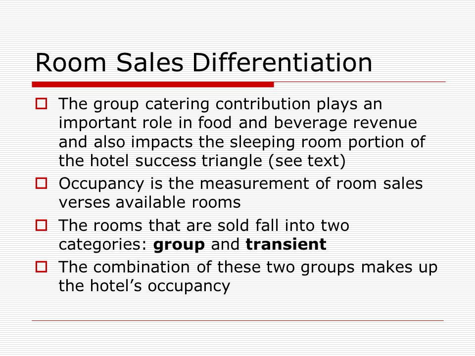 Room Sales Differentiation