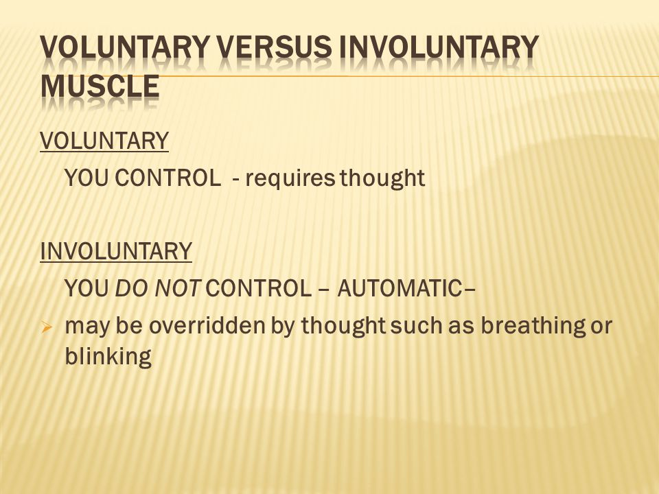 Voluntary versus Involuntary Muscle