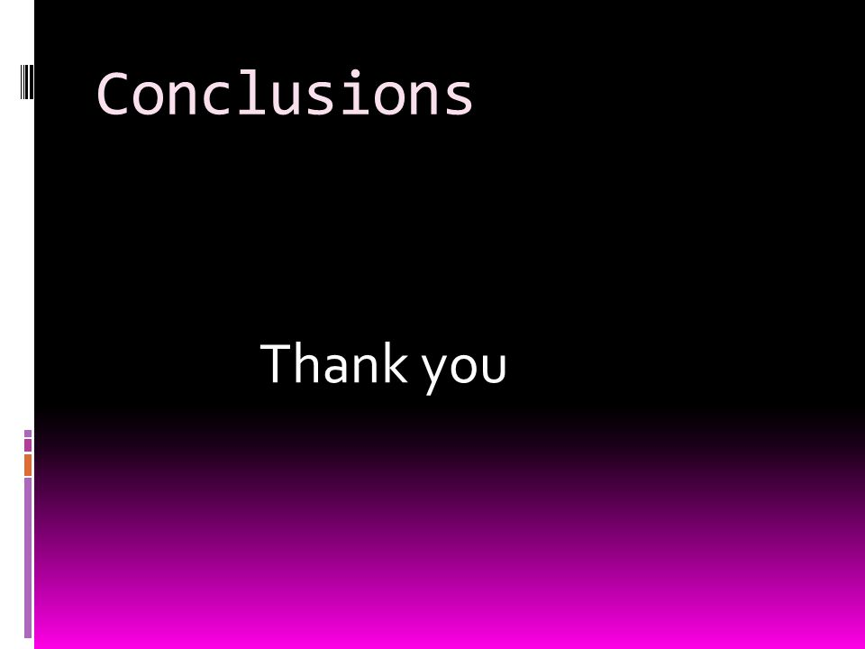 Conclusions Thank you