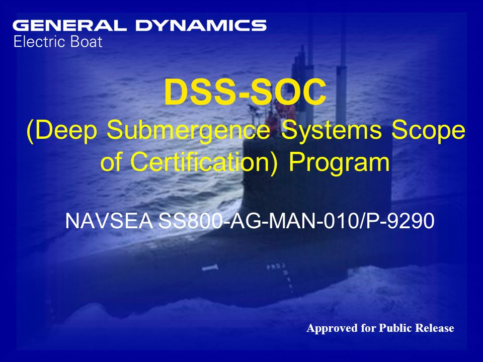 Dss Soc Deep Submergence Systems Scope Of Certification Program