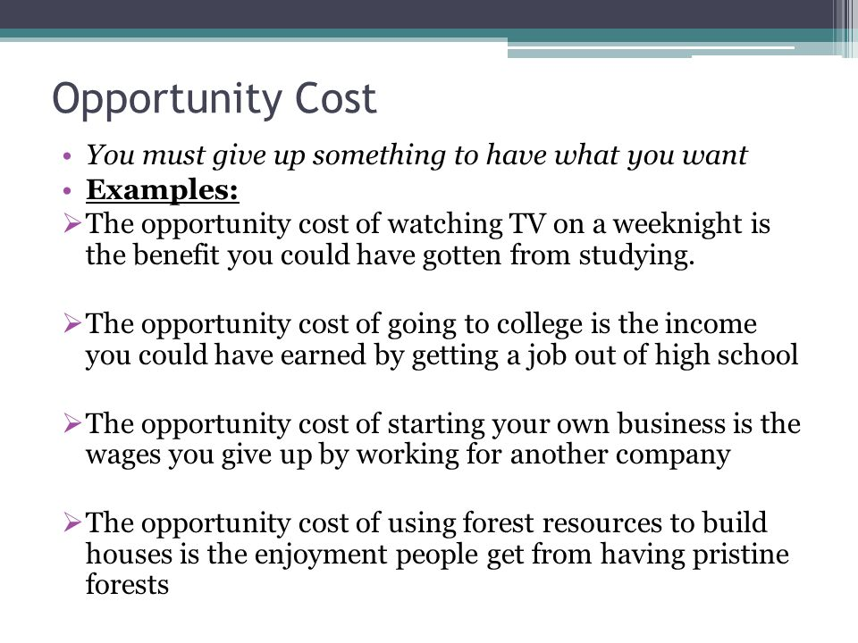 economics opportunity cost essay example Topic 14- production possibility curve 1 question 15  a-level economics  example, the opportunity cost of producing 1 unit of good x is 3.