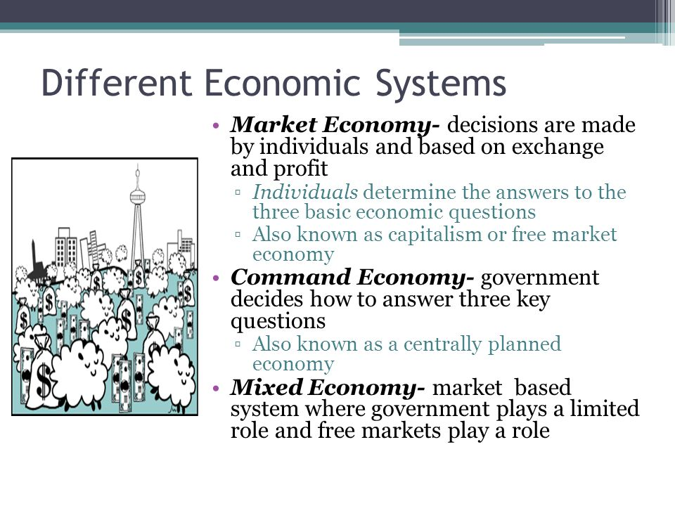 economic systems market economy centrally planned economy and mixed economy A market economy is an economy in which goods and services are traded, ask  and bid  eg some european countries come in mixed economy, united  kingdom,  a planned economy is an economic system in which decisions about  the.