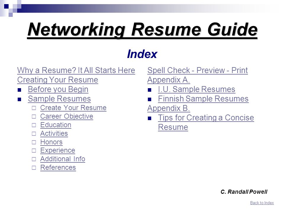 Networking Resume Guide Index  Resume Guide