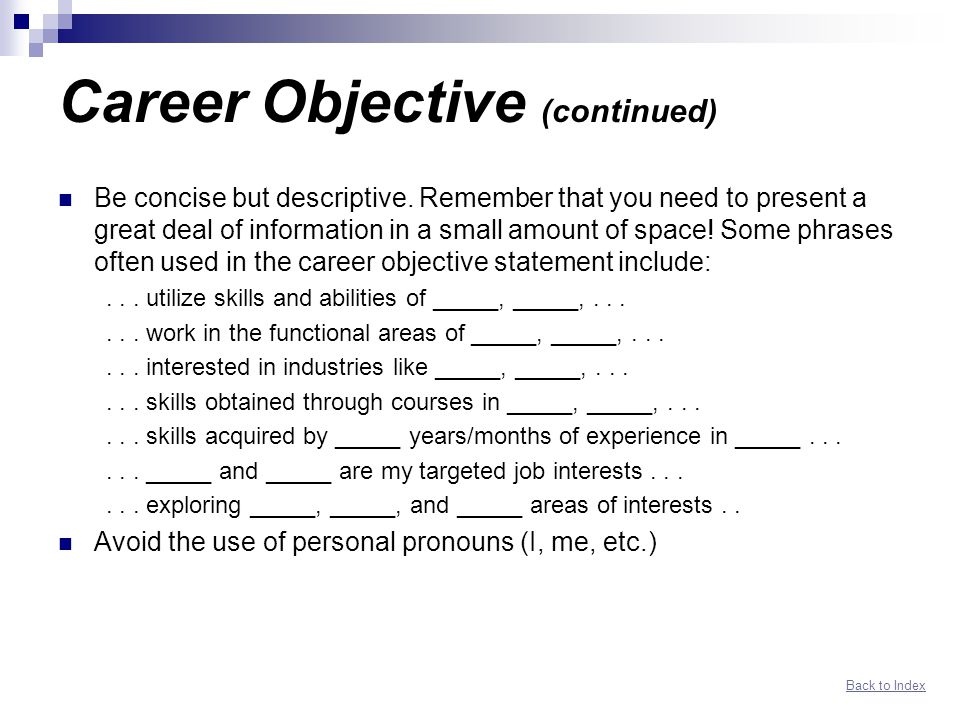 Networking Resume Guide Index
