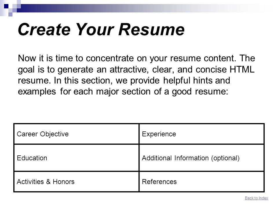 Create Your Resume  Resume Hints