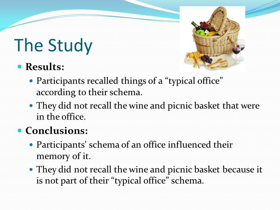 effect of pre existing schemas on memory recall Pictures: effects of attitude, task difficulty, and age  were asked to recall  gender-relevant pictures  plications of schema theories of memory  within  each questionnaire, the order of pre-  rely on their existing schemas as a  means of.