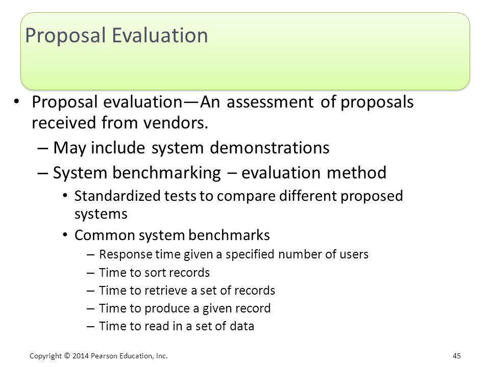 Proposal Evaluation Proposal evaluation—An assessment of proposals received from vendors. May include system demonstrations.