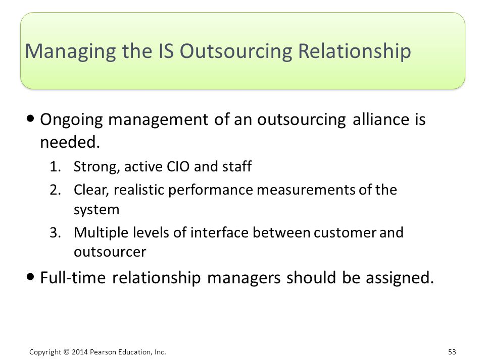 Managing the IS Outsourcing Relationship
