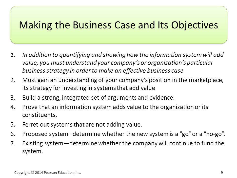 Making the Business Case and Its Objectives
