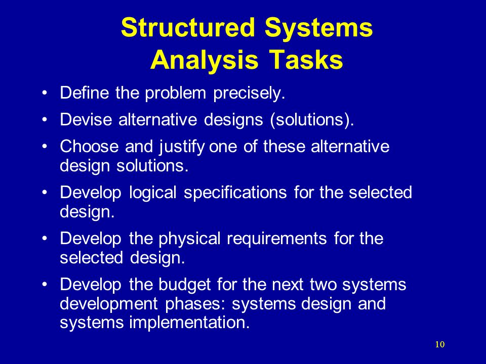 Structured Systems Analysis Tasks