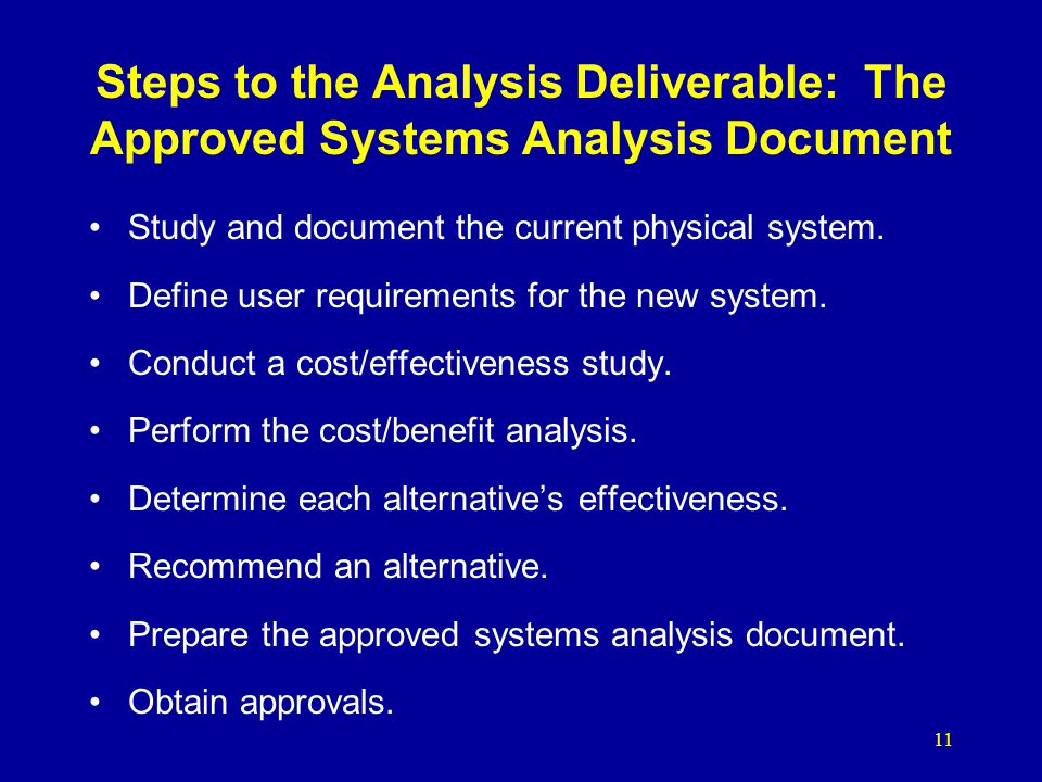 Steps to the Analysis Deliverable: The Approved Systems Analysis Document