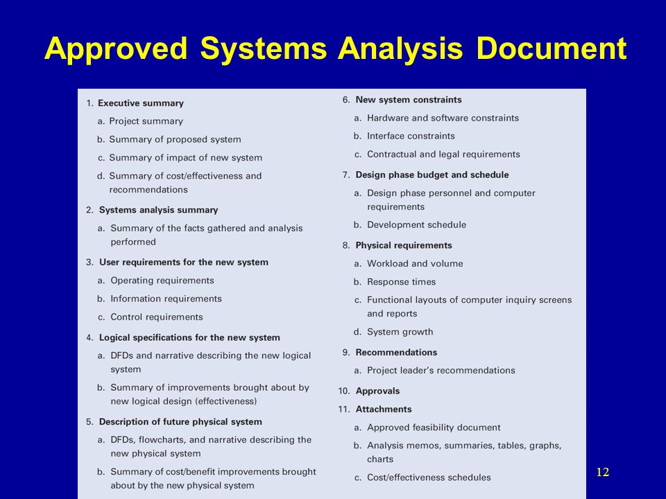 Approved Systems Analysis Document