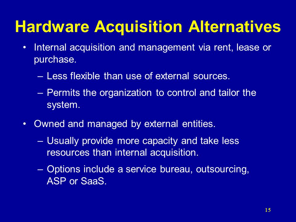 Hardware Acquisition Alternatives