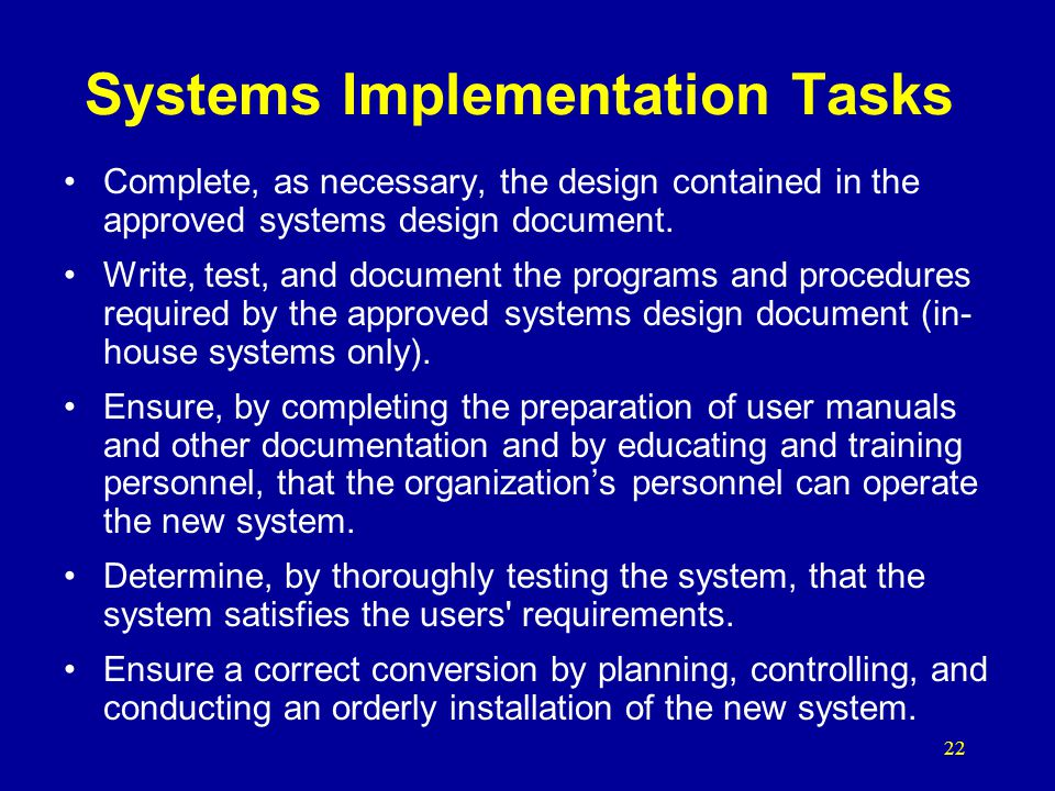 Systems Implementation Tasks